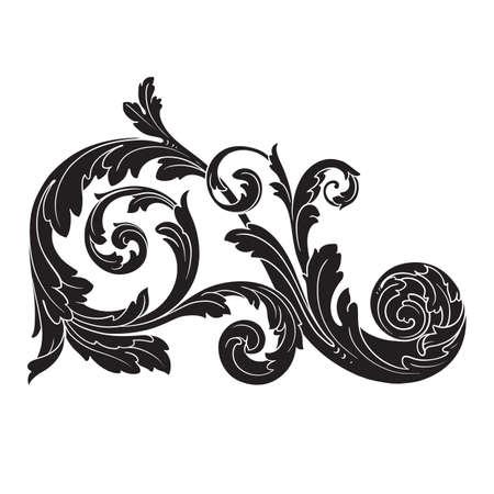 Vintage baroque frame scroll ornament engraving border floral retro pattern.