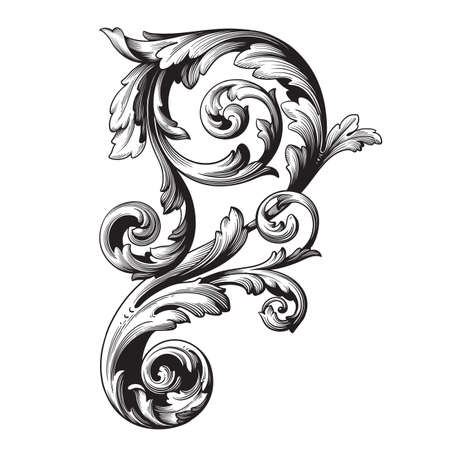Vintage baroque frame scroll ornament engraving border floral retro pattern antique style acanthus foliage swirl decorative design element filigree calligraphy vector.