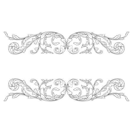Vintage baroque frame with ornament engraving border