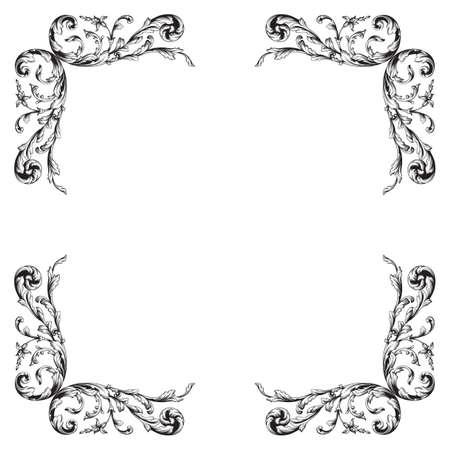 Vintage Barocke Rahmen Scroll Ornament Gravur Grenze Floral Retro