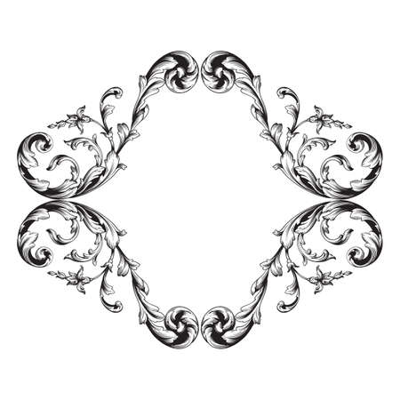 Vintage baroque frame scroll ornament engraving border floral retro pattern antique style acanthus foliage swirl decorative design element filigree calligraphy vector   damask - stock vector Illustration