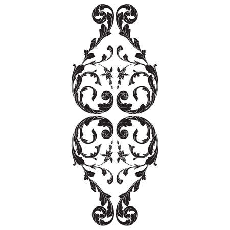 Vintage baroque frame scroll ornament engraving border floral retro pattern antique style acanthus foliage swirl decorative design element filigree calligraphy vector | damask - stock vector Çizim