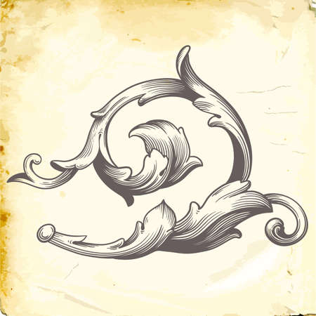 Retro baroque decorations element with flourishes calligraphic ornament in vintage style design.
