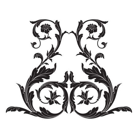 Vintage baroque frame scroll ornament engraving border, floral retro pattern in antique style, acanthus foliage swirl decorative design element filigree calligraphy.