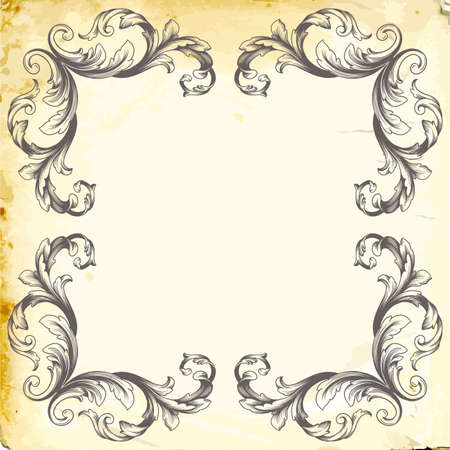 Retro baroque decorations element with flourishes calligraphic ornament. Vintage style design collection. Çizim