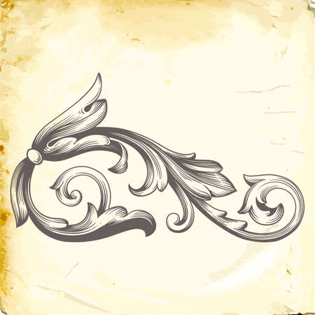 Retro baroque decorations element with flourishes calligraphic ornament. Vintage style design collection for posters, placards, invitations, banners, badges and icon.