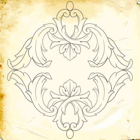 Retro baroque decorative element with calligraphic ornament. Vintage style design Illustration