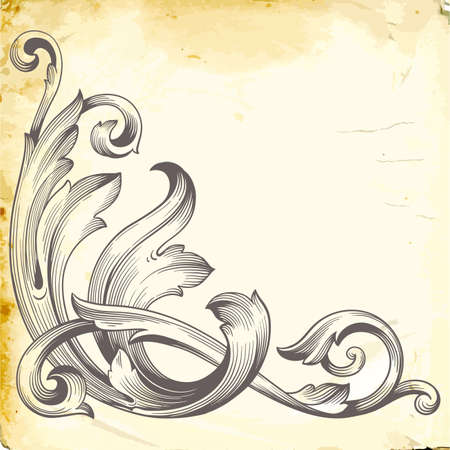 Retro baroque decorations element with flourishes calligraphic ornament.