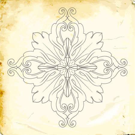 Elemento di decorazioni barocche retrò con ornamenti calligrafici svolazzi. Collezione di design in stile vintage per poster, cartelli, inviti, banner, badge e loghi.