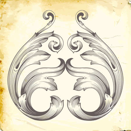 Retro baroque decorations element with flourishes calligraphic ornament. Vintage style design collection for Posters, Placards, Invitations, Banners, Badges and Logotypes.