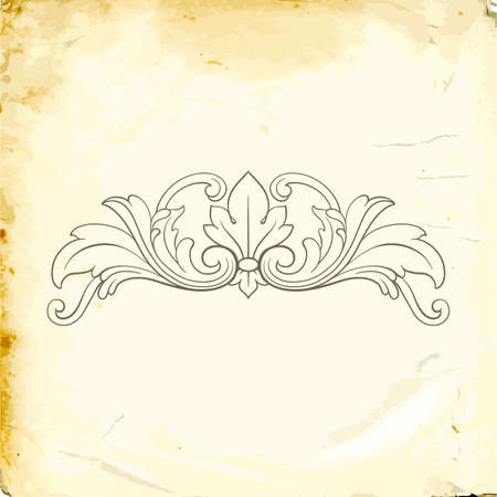 Retro baroque decoration with flourishes ornament Illustration