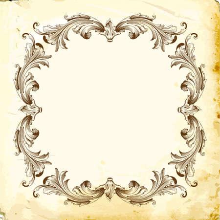 Circular floral border design illustration
