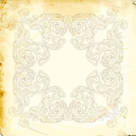 Retro baroque decorations element with flourishes calligraphic ornament Illustration