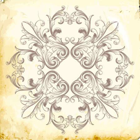 Retro baroque decorations element with flourishes calligraphic ornament Illustration