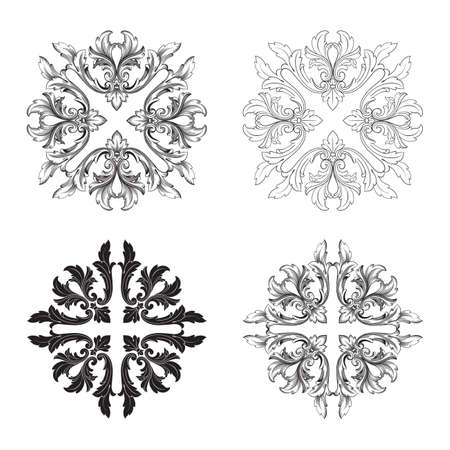 Classical baroque vector set of vintage elements for design. Decorative design element filigree calligraphy vector. You can use for wedding decoration of greeting card and laser cutting. Ilustrace
