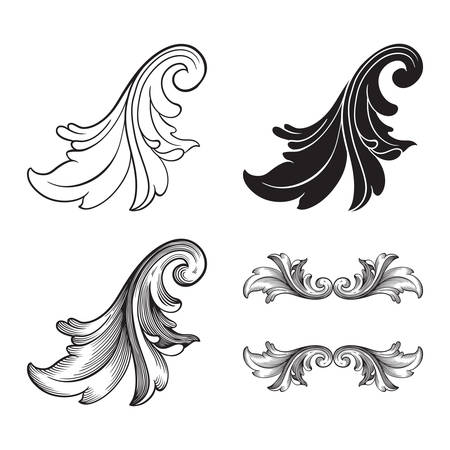 Classical baroque vector set of vintage elements for design. Decorative design element filigree calligraphy vector. You can use for wedding decoration of greeting card and laser cutting. Иллюстрация