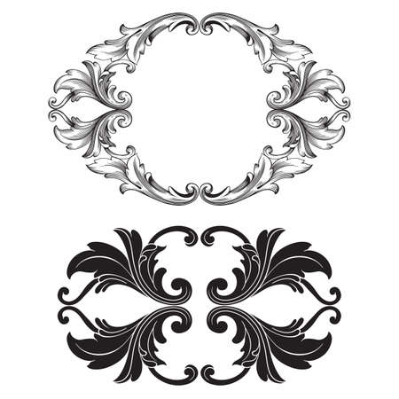 Classical baroque vector set of vintage elements for design. Decorative design element filigree calligraphy vector. You can use for wedding decoration of greeting card and laser cutting. Ilustracja