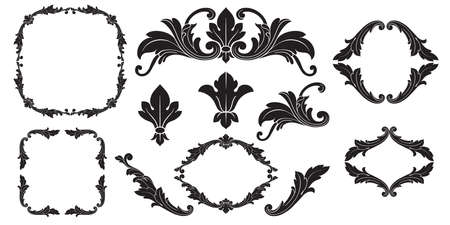 Classical baroque vector set of vintage elements for design. Decorative design element filigree calligraphy vector. You can use for wedding decoration of greeting card and laser cutting. Ilustração