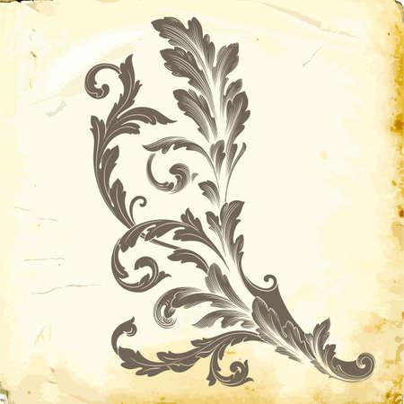 Elemento de decoración barroca retro con adornos caligráficos floridos. Colección de diseño de estilo vintage para carteles, pancartas, invitaciones, pancartas, insignias y logotipos.