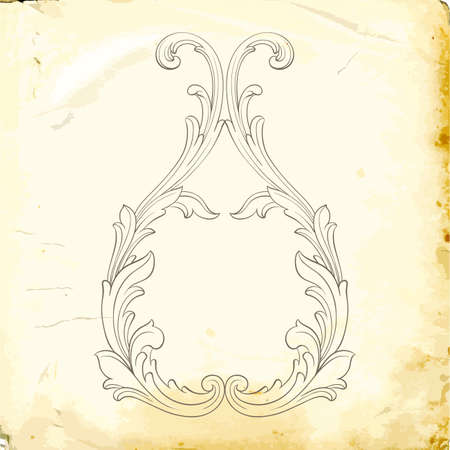 Retro baroque decorations element with flourishes calligraphic ornament. Vintage style design collection for Posters, Placards, Invitations, Banners, Badge.  イラスト・ベクター素材