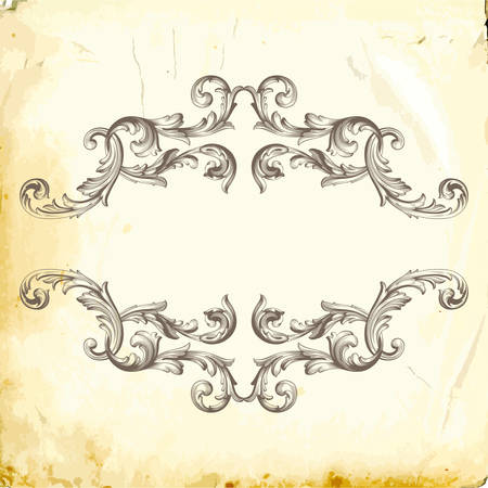 Retro baroque decorations element with flourishes calligraphic ornament. Vintage style design collection for Posters, Placards, Invitations, Banners