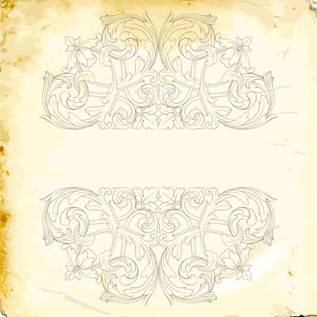 Retro baroque decorations element with flourishes calligraphic ornament. Vintage style design collection for Posters, Placards, Invitations, Banners, Badges Illustration
