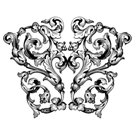 Retro baroque decorations element with flourishes calligraphic ornament. Vintage style design collection for Posters, Placards, Invitations, Banners, Badges and Logotypes. Banque d'images - 104916376