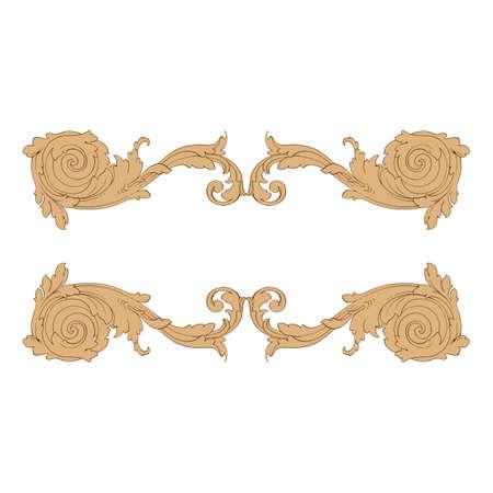 Elemento di decorazioni barocche retrò con svolazzi ornamento calligrafico. Collezione di design in stile vintage per poster, cartelli, inviti, striscioni, distintivi.