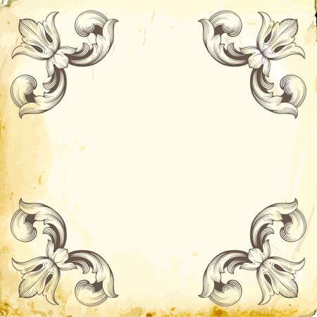 Retro baroque decorations element with flourishes calligraphic ornament.Vintage style design collection for Posters, Placards, Invitations, Banners, Badges. Vektoros illusztráció