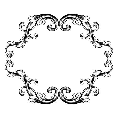Classical baroque vector of vintage element for design. Decorative design element filigree calligraphy vector. You can use for wedding decoration of greeting card and laser cutting. Stok Fotoğraf - 147713050