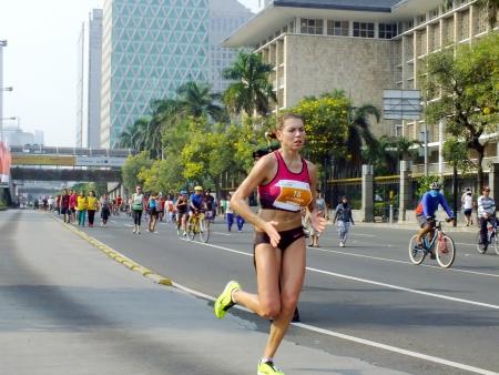 Jakarta - October 27, 2013 Olga Dubovskaya Belarusian Runner at Jakarta Marathon