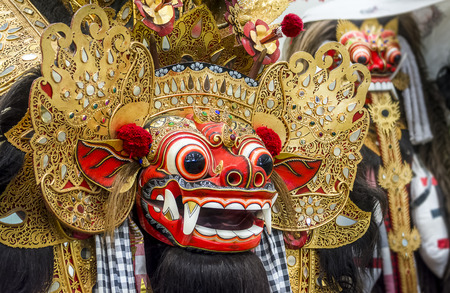 Traditional Barong mask in Bali Indonesia Used in Dance Performance photo