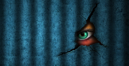 Illustration of surveillance and prisoner concepts with green eye looking through, peeping and watching behind the shadow from cracking wall Stock Photo
