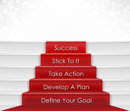 Vijf stappen naar succes concept