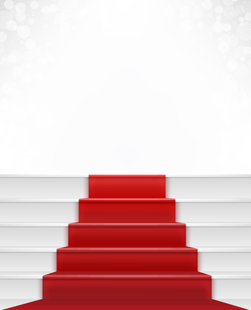 Red carpet and stair with white bright background bokeh  Enterance to stardom  Concept of success, achievement and privilege photo