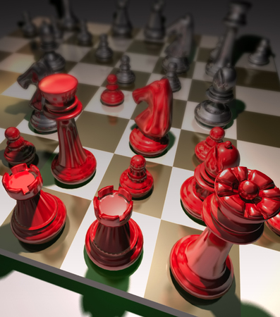 decisionmaking: Strategy chess game requires strategic decision-making, concentration, tactics, and evaluation are great for enhancing business and marketing skill Stock Photo