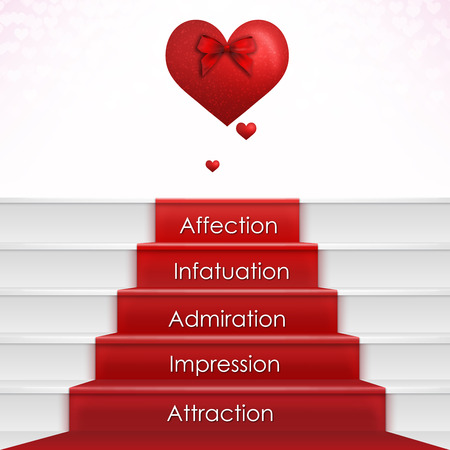 love wallpaper: Falling in Love Process with Hearts. Concept love card for valentine