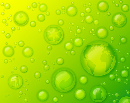 environmentally friendly: environmentally friendly concept with water drops on green background