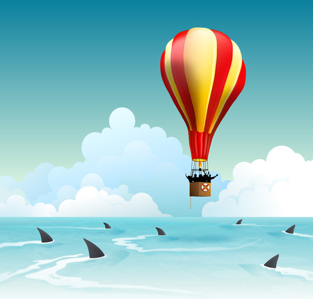 bout: Concepts for business risk, financial failure and investment risk management. Hot air balloon risk of falling down on shark infested ocean with cloudy sky in background Stock Photo
