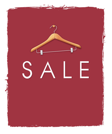 negative space: Sale poster concepts with cloth hanger on unfinished red paint background. Negative space on below can be used to put word like discount up to 50% off or the items on sale