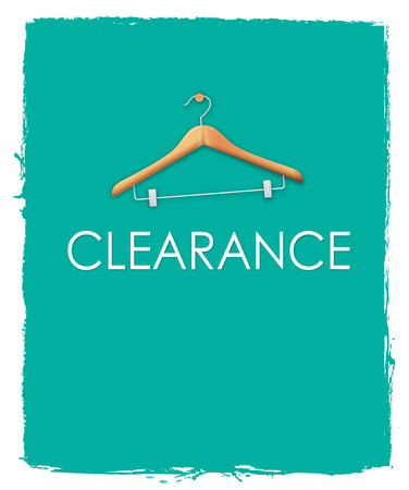Green clearance sale poster concepts with cloth hanger on unfinished red paint background photo