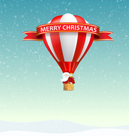 spread around: Santa Claus riding hot air balloon in snowy day with a Merry Christmas ribbon and lots of gift, present, candy