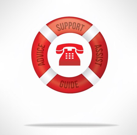 hotline: Customer service care and support hotline concept with red life buoy with words advice, support, assist and guide
