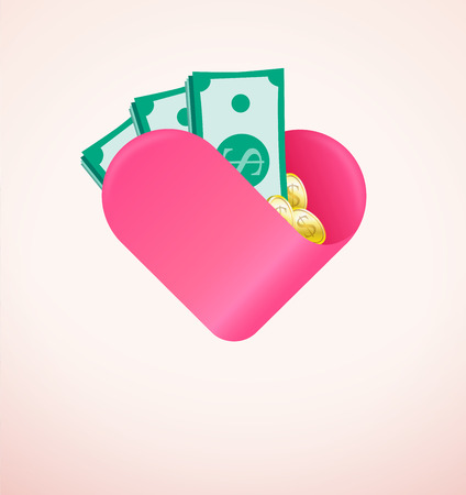 Financial gift made with love ,charity and donation concept with money and heart. Negative space on bottom can be put writing like show them that you care or send your heart