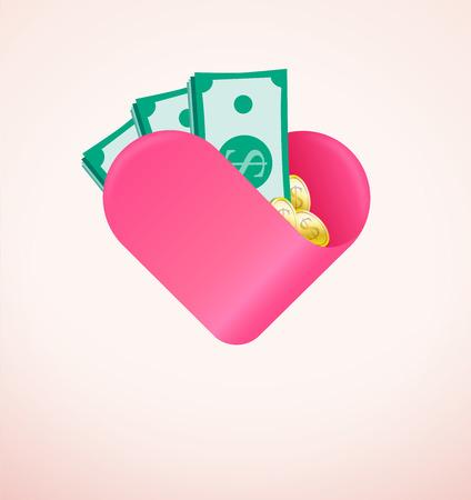 generoso: Regalo financiero realizado con amor, la caridad y el concepto de donación con el dinero y el corazón. El espacio negativo en la parte inferior se puede poner por escrito como ellos muestran que usted se preocupa o envía tu corazón