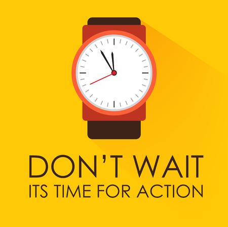 действие: Время для действий и Не ждите концепции. Секундомер Часы тикают на темном желтом фоне. Современный плоский дизайн. Отрицательное пространство на дне могут быть использованы для дополнительной формулировки. Иллюстрация