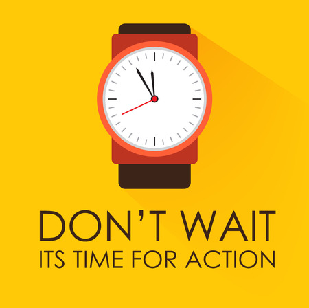 Time for Action and Dont Wait Concept. Stopwatch clock ticking on dark yellow background. Modern flat design. Negative space on bottom can be used to extra wording. Çizim