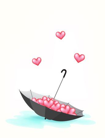 우산과 떨어지는 사랑 물 웅덩이와 심장 모양 비가 위의. 위의 부정적인 공간 단어를 넣어 또는 라이브 인사말을 사용할 수 있습니다. Happy Valentine \