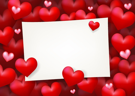 declaration of love: Blank wedding invitation paper card surrounded by floating red heart and pink love. Concept of love letter, valentines day and anniversary celebration.