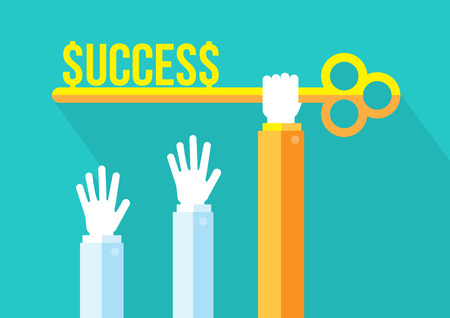 reach out: Hand holding golden key to success. Business Competition, leadership and steps to success concept.   Modern flat design with long shadow.